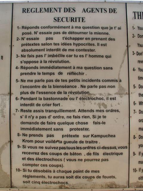 Le réglement des prisonniers à Tuol Sleng, la prison S-21 des Khmers Rouges