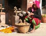 Vendeuse de rue à Kathmandu