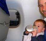 De eerste keer in het vliegtuig.